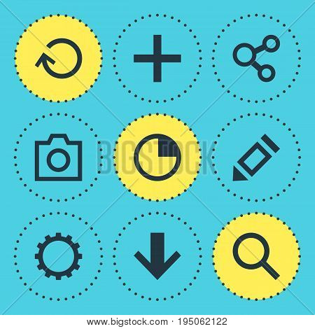 Vector Illustration Of 9 User Icons. Editable Pack Of Stopwatch, Publish, Magnifier And Other Elements.