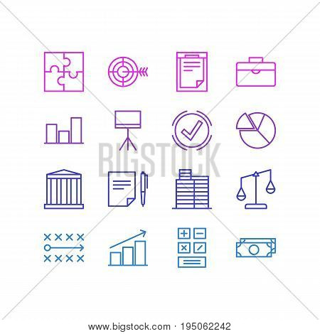 Vector Illustration Of 16 Trade Icons. Editable Pack Of Graph, Goal, File And Other Elements.