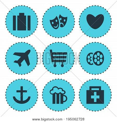 Vector Illustration Of 9 Map Icons. Editable Pack Of Shopping Cart, Masks, Heart And Other Elements.