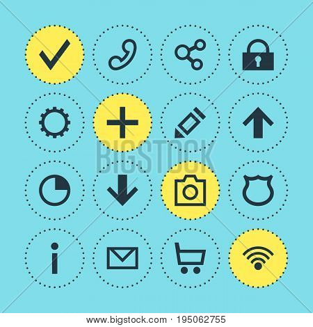 Vector Illustration Of 16 Interface Icons. Editable Pack Of Plus, Publish, Cordless Connection And Other Elements.