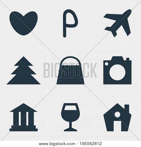Vector Illustration Of 9 Travel Icons. Editable Pack Of Photo Device, Home, Aircraft And Other Elements.