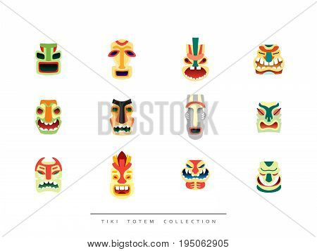 Collection Tiki Totem in flat style vector illustration.