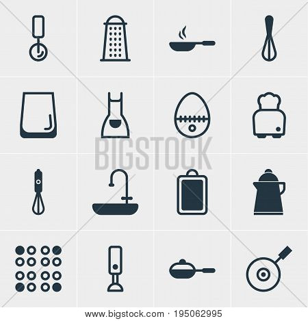 Vector Illustration Of 16 Restaurant Icons. Editable Pack Of Cooker, Bread, Breakfast And Other Elements.