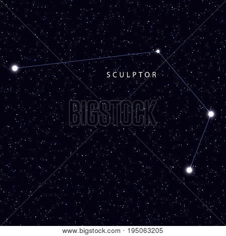 Sky Map with the name of the stars and constellations. Astronomical symbol constellation Sculptor