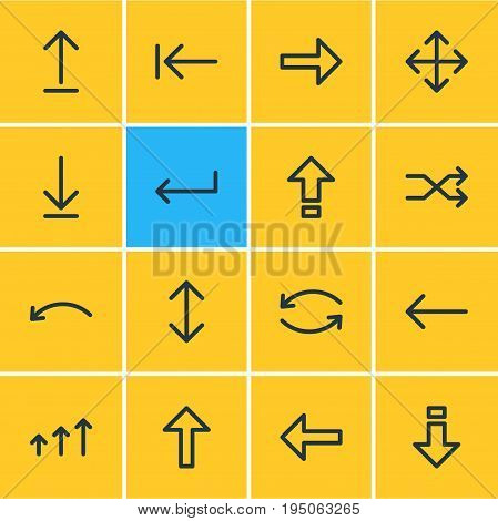 Vector Illustration Of 16 Sign Icons. Editable Pack Of Left, Submit, Update And Other Elements.