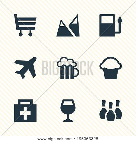 Vector Illustration Of 9 Travel Icons. Editable Pack Of Aircraft, Beer Mug, Drugstore And Other Elements.