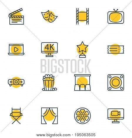Vector Illustration Of 16 Film Icons. Editable Pack Of Snack, Resolution, Clapper And Other Elements.