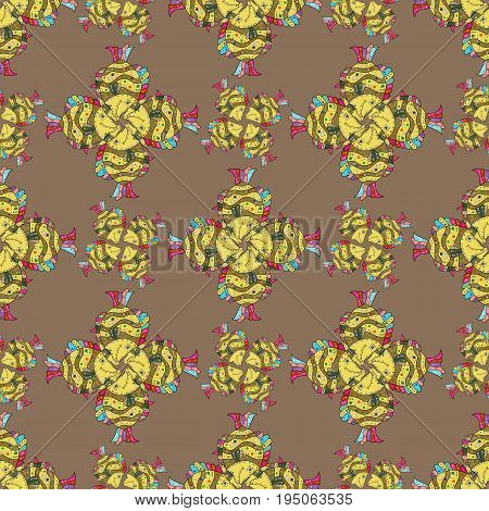On colored background with flowers. Cute textile seamless pattern with rever fishes Vector illustration.