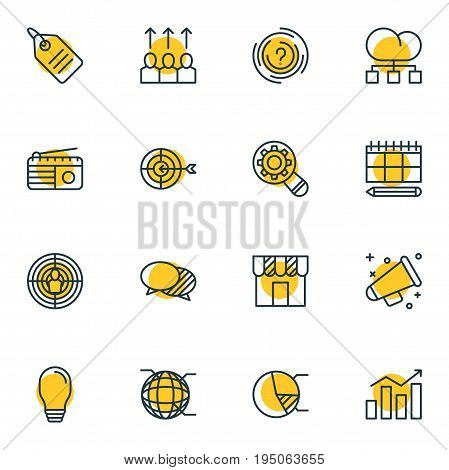 Vector Illustration Of 16 Advertising Icons. Editable Pack Of Advancement, Aiming, Goal And Other Elements.