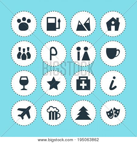 Vector Illustration Of 16 Map Icons. Editable Pack Of Beer Mug, Landscape, Aircraft Elements.