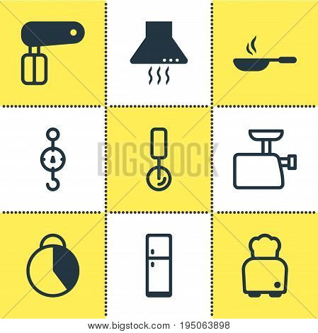 Vector Illustration Of 9 Kitchenware Icons. Editable Pack Of Extractor Appliance, Bread, Mincer And Other Elements.
