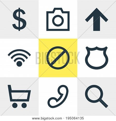 Vector Illustration Of 9 User Icons. Editable Pack Of Magnifier, Cordless Connection, Top And Other Elements.