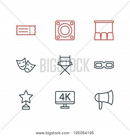 Vector Illustration Of 9 Cinema Icons. Editable Pack Of Loudspeaker, Tragedy, Hall And Other Elements.