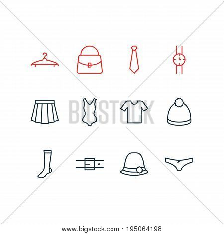 Vector Illustration Of 12 Clothes Icons. Editable Pack Of Casual, Pompom, Strap And Other Elements.