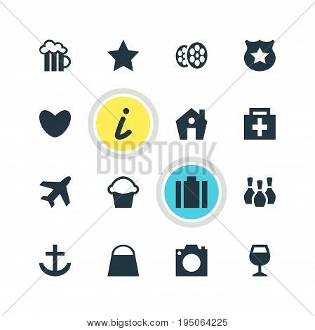 Vector Illustration Of 16 Check-In Icons. Editable Pack Of Drugstore, Handbag, Skittles Elements.