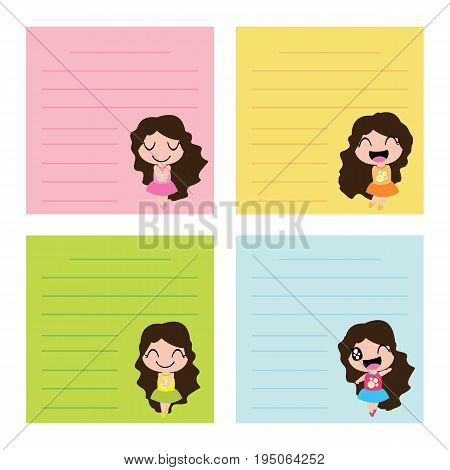 Colorful memo paper with cute girls on colorful background vector cartoon for kid memo paper and notebook paper