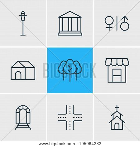 Vector Illustration Of 9 City Icons. Editable Pack Of Toilet, Home, Intersection And Other Elements.