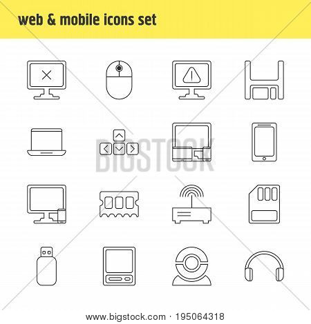 Vector Illustration Of 16 Computer Icons. Editable Pack Of Gadgets, Diskette, Notebook And Other Elements.