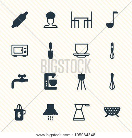Vector Illustration Of 16 Kitchenware Icons. Editable Pack Of Faucet, Kettle, Soup Spoon And Other Elements.