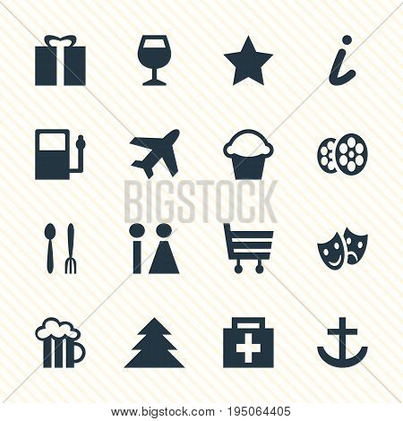 Vector Illustration Of 16 Map Icons. Editable Pack Of Cake, Toilet, Shopping Cart And Other Elements.