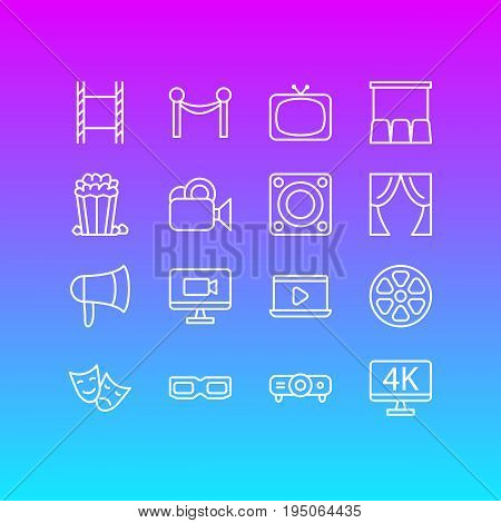 Vector Illustration Of 16 Cinema Icons. Editable Pack Of Resolution, Spectacles, Cinema Fence And Other Elements.