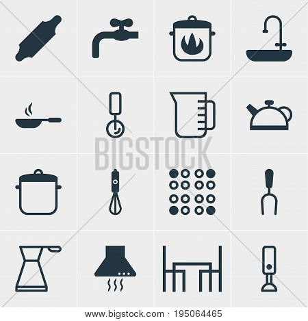 Vector Illustration Of 16 Restaurant Icons. Editable Pack Of Extractor Appliance, Teakettle, Barbecue Tool And Other Elements.