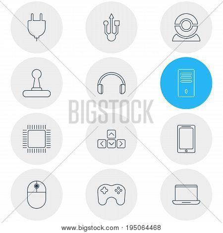 Vector Illustration Of 12 Notebook Icons. Editable Pack Of Game Controller, Cursor Manipulator, Keypad And Other Elements.