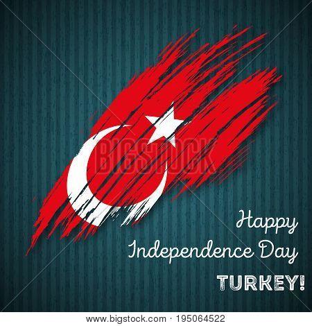 Turkey Independence Day Patriotic Design. Expressive Brush Stroke In National Flag Colors On Dark St