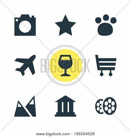 Vector Illustration Of 9 Check-In Icons. Editable Pack Of University, Bookmark, Aircraft And Other Elements.