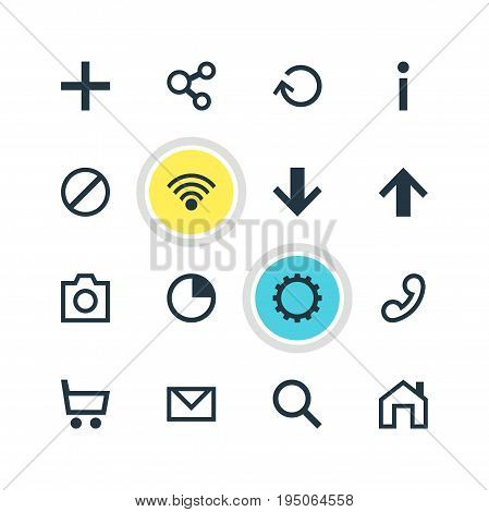 Vector Illustration Of 16 Member Icons. Editable Pack Of Downward, Mainpage, Cogwheel And Other Elements.
