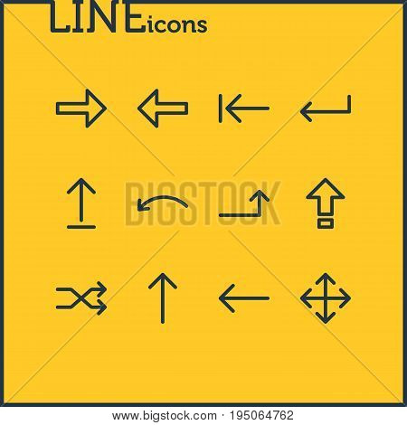 Vector Illustration Of 12 Arrows Icons. Editable Pack Of Turn, Tab, Submit And Other Elements. poster