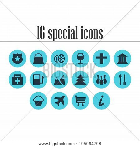 Vector Illustration Of 16 Location Icons. Editable Pack Of Refueling, Cop, Cake And Other Elements.