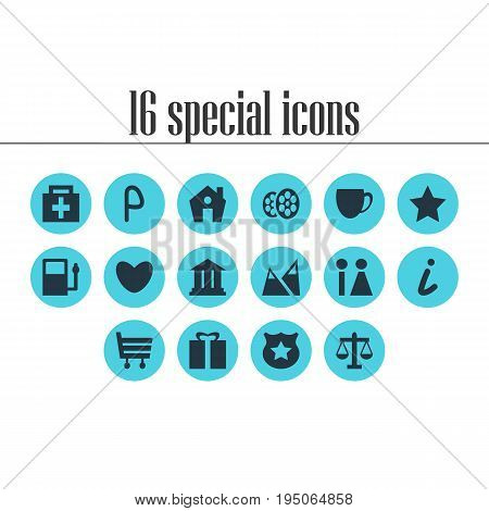 Vector Illustration Of 16 Travel Icons. Editable Pack Of Heart, Coffee Shop, Cop And Other Elements.