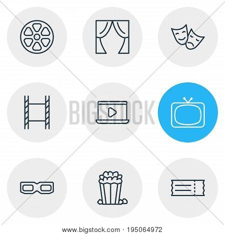 Vector Illustration Of 9 Cinema Icons. Editable Pack Of Snack, Filmstrip, Tragedy And Other Elements.