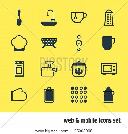Vector Illustration Of 16 Kitchenware Icons. Editable Pack Of Sieve, Tablespoon, Mincer And Other Elements.