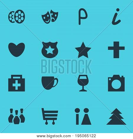 Vector Illustration Of 16 Location Icons. Editable Pack Of Wineglass, Coffee Shop, Shopping Cart And Other Elements.
