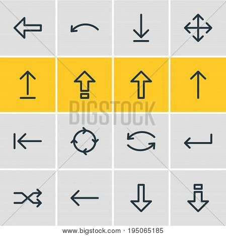 Vector Illustration Of 16 Arrows Icons. Editable Pack Of Widen, Upwards, Submit And Other Elements.