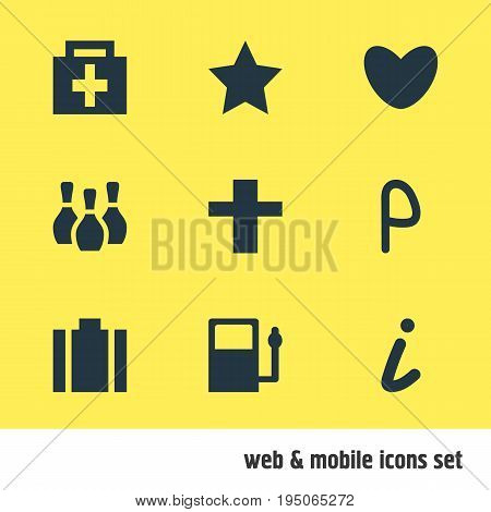 Vector Illustration Of 9 Map Icons. Editable Pack Of Skittles, Cross, Heart And Other Elements.