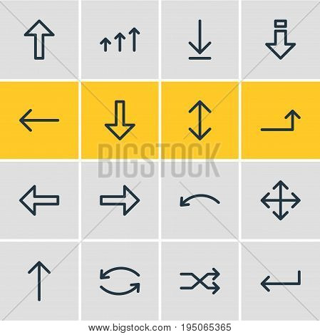 Vector Illustration Of 16 Direction Icons. Editable Pack Of Right, Randomize, Widen Elements.