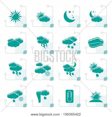 Stylized Weather and meteorology icons - vector icon set