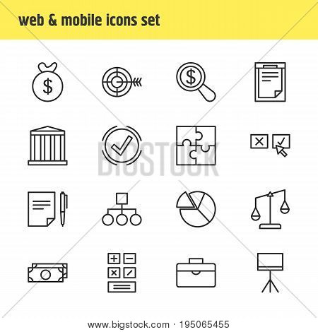 Vector Illustration Of 16 Business Icons. Editable Pack Of Bag, Portfolio, Calculate And Other Elements.
