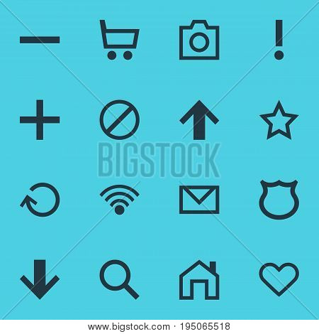 Vector Illustration Of 16 Interface Icons. Editable Pack Of Mainpage, Minus, Downward And Other Elements.
