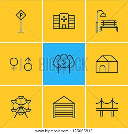 Vector Illustration Of 9 Public Icons. Editable Pack Of Home, Toilet, Bench And Other Elements.