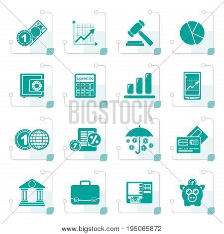 Stylized Business and finance icons - vector icon set