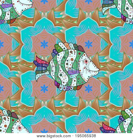 Cute and simple seamless pattern with colorful fish. Tropical fishes sea fish aquarium fish on colored petals flowers background.