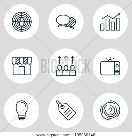 Vector Illustration Of 9 Advertising Icons. Editable Pack Of Television, Shop, Advancement And Other Elements.