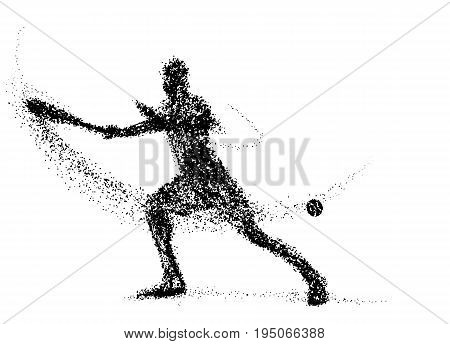 Tennis of the particles. Silhouette of a tennis player from particles. color can be changed in one click. tennis player
