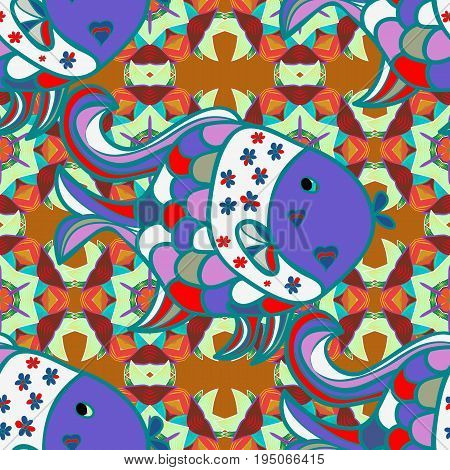 Sketch - fishes pattern. Tropical fish sea fish aquarium fish on colored background. Vector illustration.