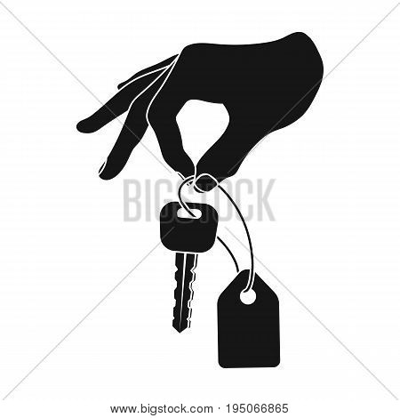 Key with a key ring in his hand. E-commerce single icon in black style vector symbol stock illustration .