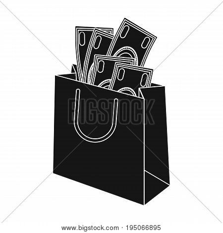 Bag with money. E-commerce single icon in black style vector symbol stock illustration .